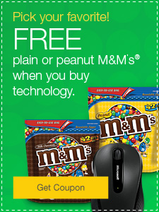 Pick your favorite! FREE plain or peanut M&M's® when you buy technology.