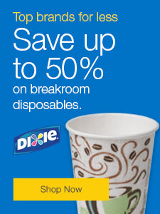 Save up to 50% on breakroom disposables.