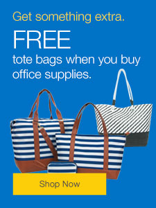 FREE tote bags when you buy office supplies.