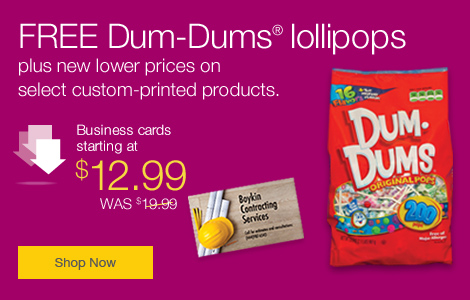 New lower prices. FREE DumDums on custom printed products.