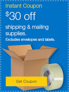 $30 off shipping & mailing supplies. Excludes envelopes and labels.