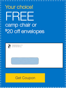 FREE camp chair or $20 off custom-printed envelopes.