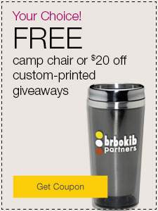 FREE camp chair or $20 off custom-printed giveaways.