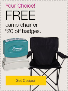 FREE camp chair or $20 off custom-printed stamps.