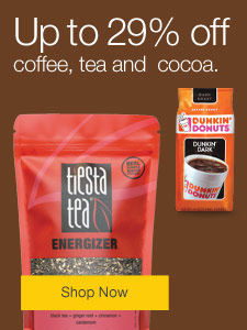 Up to 29% off coffee, tea and cocoa.