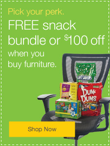 Pick your perk. $25 off, $100 off or FREE snack bundle when you buy furniture.