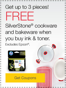 Get up to 3 pieces! FREE Silverstone® cookware and bakeware when you buy ink & toner.  Excludes Epson®.