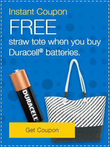 FREE straw tote when you buy Duracell® batteries.