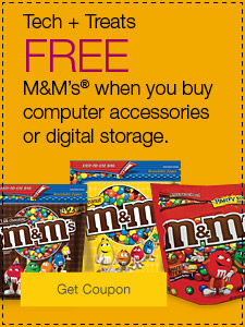Tech + treats. FREE M&M's® when you buy computer accessories or digital storage.