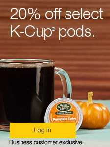 Save up to 20% on select K-Cup® pods. Business customer exclusive.