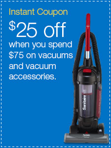 $25 off when you spend $75 on vacuums and vacuum accessories.