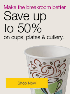 Make the breakroom better. Save up to 50% on cups, plates & cutlery.