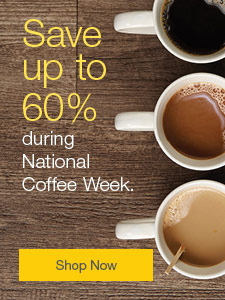 Save up to 60% during National Coffee Week.