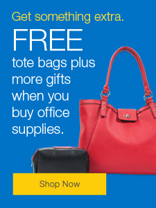 FREE tote bag plus more gifts when you buy office supplies.