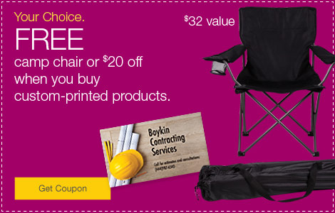 FREE camp chair or $20 off when you buy custom-printed products.