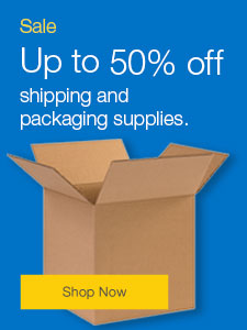 Sale Up to 50% off shipping and packaging supplies.