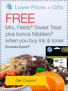 Lower Prices + Gifts. FREE Mrs. Fields® Sweet Treat plus bonus Nibblers® when you buy ink & toner. Excludes Epson®.