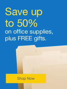 Save up to 50% on office supplies, plus FREE gifts.