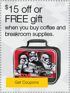 $15 off or FREE gift when you buy coffee and breakroom supplies.