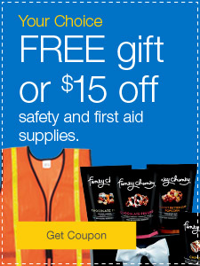 FREE Funky Chunky snacks or $15 off when you buy safety & first aid supplies.