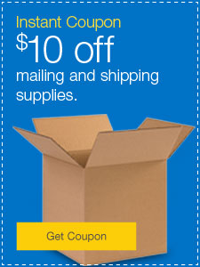 Instant Coupon. $10 off mailing and shipping supplies.