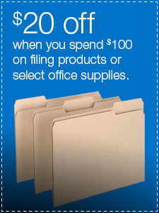 $20 off when you spend $100 on filing products or select office supplies.