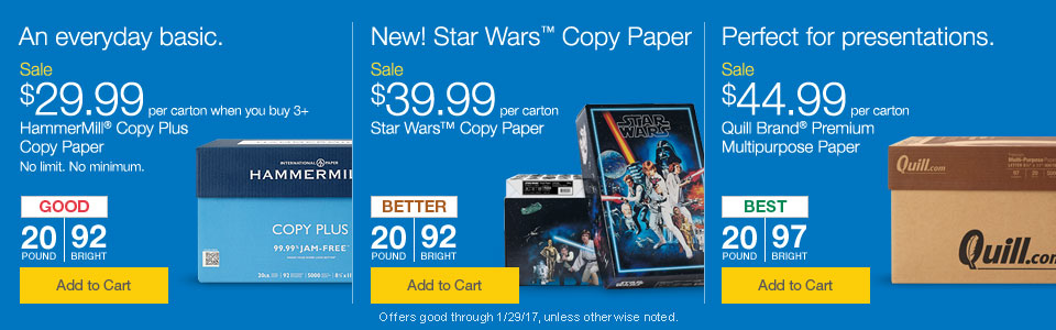 An everyday basic.  New! Star Wars Copy Paper.  Perfect for presentations.