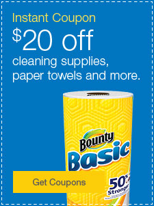 Instant Coupon | $20 off cleaning supplies, paper towels and more.