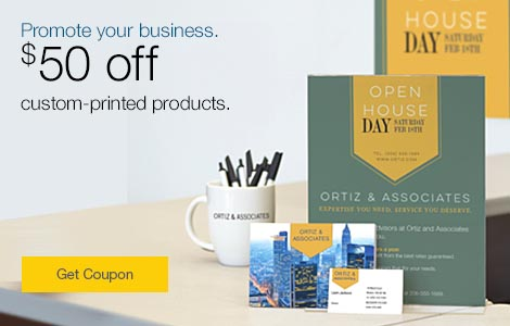 Promote your business.  $50 off custom-printed products.