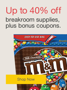 Up to 40% off breakroom supplies, plus bonus coupons.