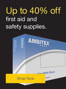 Up to 40% off first aid and safety supplies.