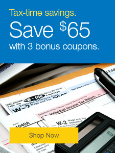 Tax-time savings. Save $65 with 3 bonus coupons.