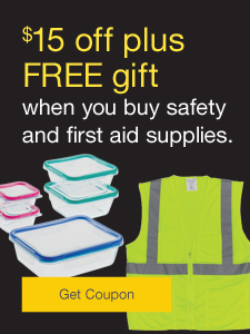 $15 off plus FREE gift when you buy safety and first aid supplies.