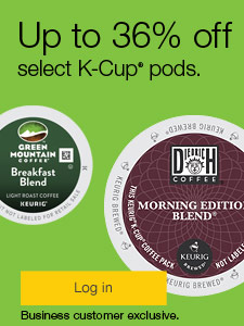 Up to 36% off select K-Cup® pods. Business customer exclusive.