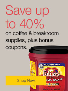 Up to 40% off coffee and breakroom supplies, plus bonus coupons.