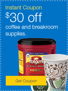 Instant Coupon | $30 off coffee and breakroom supplies.