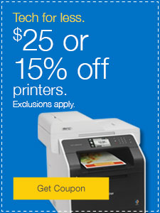 $25 off or 15% off printers. Exclusions apply.