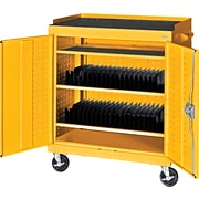 Yellow Mobile Tablet Storage Cart; 43x36x24