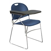 KFI (r) Seating Polypropylene Sled Base Chair With Right Hand P-Shaped Writing Tablet; Navy Blue, 4/Ct