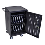 Luxor Tablet Charging Cart With 30 Electrical Outlets; Black