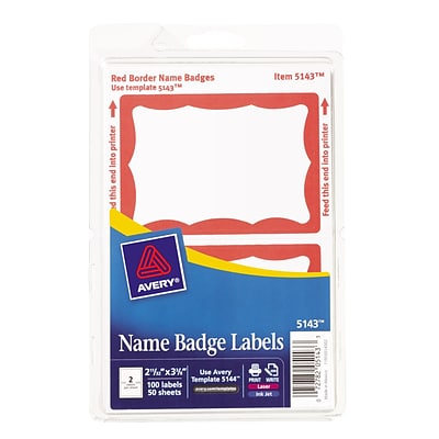 Avery Print Or Write SelfAdhesive Name Badge Labels X - Quill label template