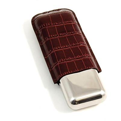 Buy cigars store - Bey-Berk C242 52 ga Croco Leather and Stainless Steel Double Cigar