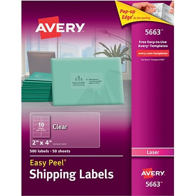 Avery 5663 Clear Easy Peel Shipping Labels Laser 2 X 4 500box