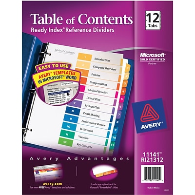 Avery Ready Index Table Of Contents Dividers For Laserinkjet
