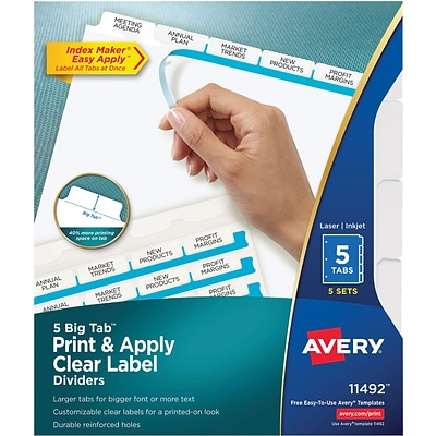 Avery Index Maker Clear Label Presentation Dividers 5 Tab White