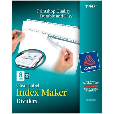 Avery Index Maker Clear Label 8 Tab Dividers White 25box 11447