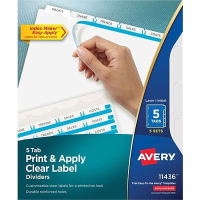 Avery Clear Label Index Maker Dividers White 5 Tab 5pack 11436
