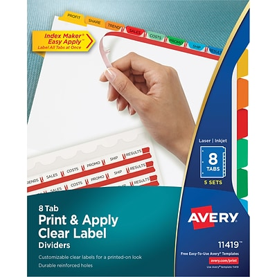Avery Index Maker Clear Label Dividers Easy Apply Label Strip 8