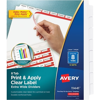 Averyr Index Makerr Extra Wide Clear Label Dividers 11441 8