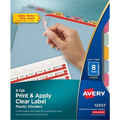 Avery Index Maker Clear Label Plastic Dividers 8 Tab Multicolor